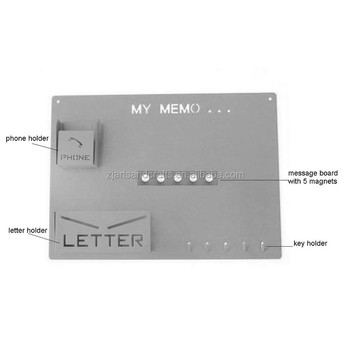 Metal Wall-mounted Large Multifunctional Magnetic Key Holder Memo Board with Phone and Letter holder