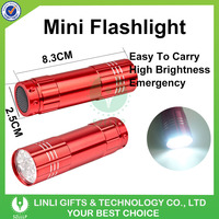 Mini AAA Battery Powered Aluminum 9 LED Rechargeable Led Flashlight