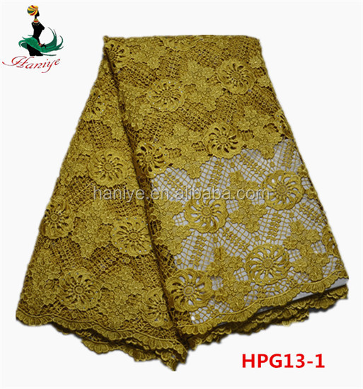 Haniye HPG13-1 gold new arrival textile Chemical laces fabric/guipure laces african lace fabrics for clothing