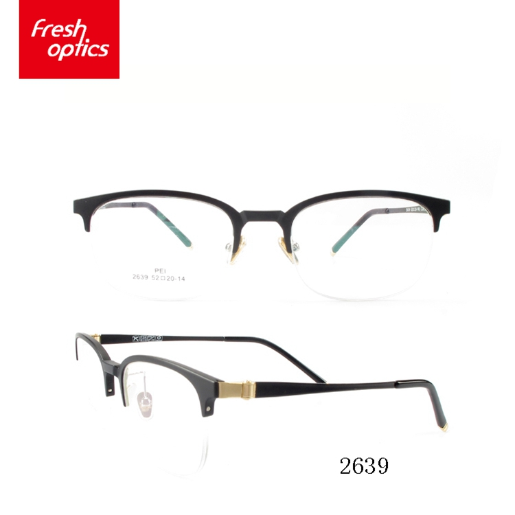 2639 Metal Angle Half Frame TR90 Optical Glasses With Customize