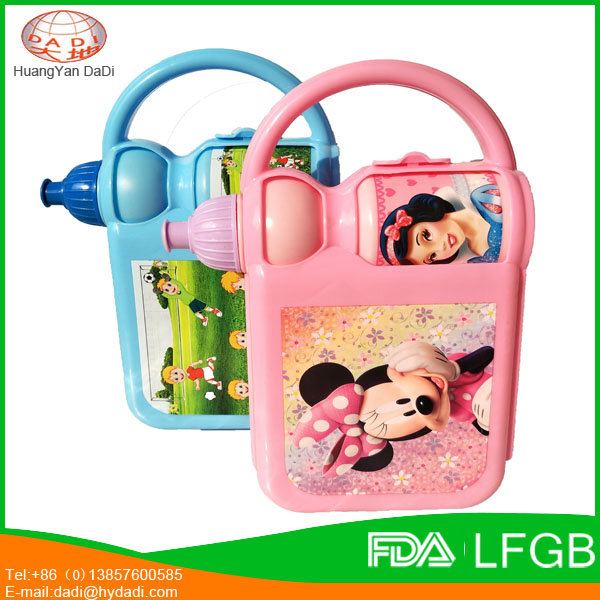 BPA free plastic cartoon lunch box and water bottle with handle for kids