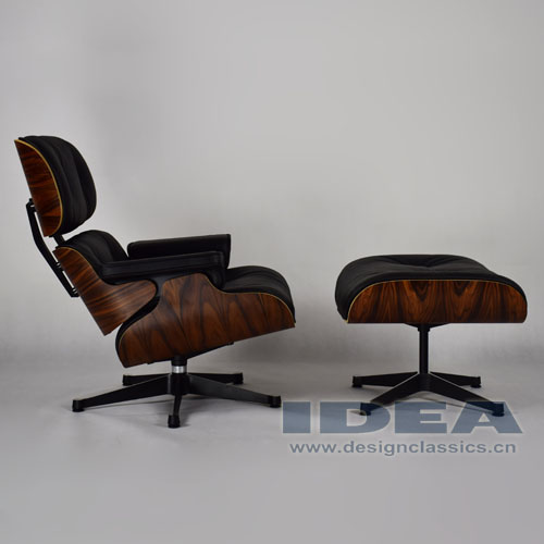 Replica Charles Lounge Chair Rose wood Veneer Black Leather
