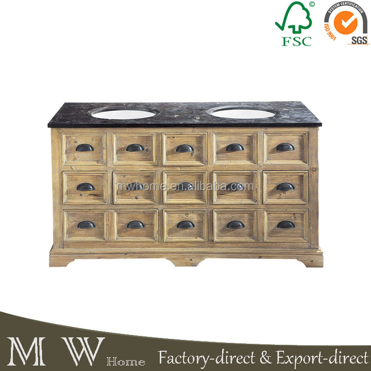 MW Home reclaimed wood drawer vanity with marble top