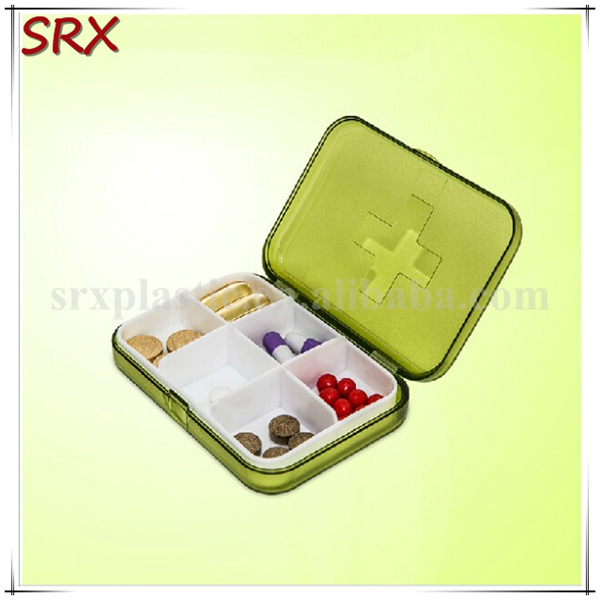 6 dividers Convenient Plastic square yellow pill boxes wholesale,OEM medication plastic 6 parts jewelry boxes for sale