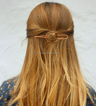 Fashion Hair Accessories Western Style Plain Metal Hammered Oval Hair Barrette and Fork for women