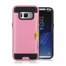 New Products Custom Brushed Hybrid PC TPU 2 In 1 Card Holder Mobile Phone Cover For Samsung Galaxy S8 Combo Case With Slot