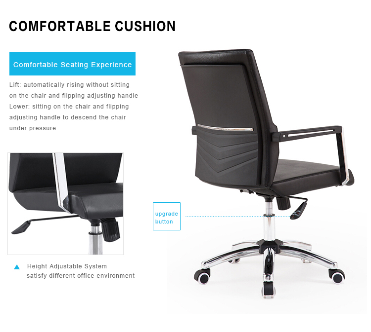 luxury High Back Soft Pad PU Leather Swivel Chair Office Chair
