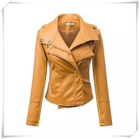 Women's pu Leather Outwear Motorcycle Suit Jacket Punk Zipper Custom Fit Short
