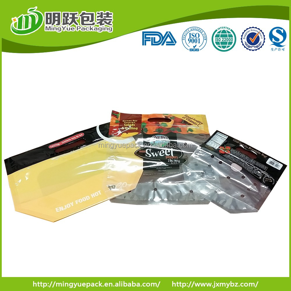 plastic packing bag for fresh vegetable and fruit flat bottom with air holes and zip lock