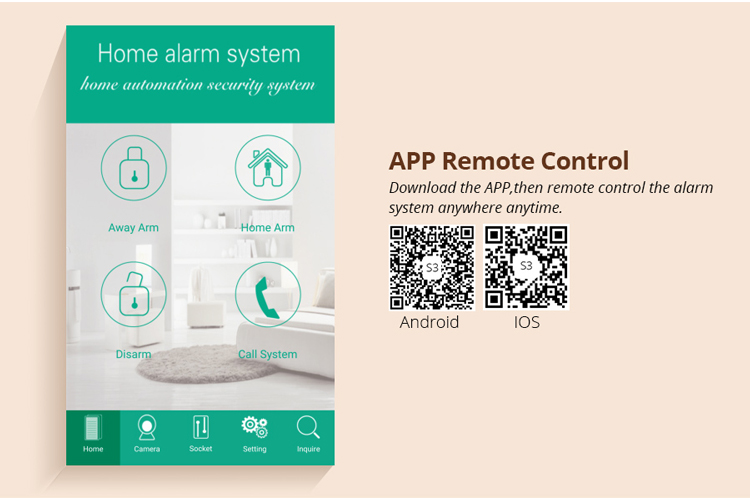 2017 newest cheap price GSM smart home alarm system with APP easily control,can work with WIFI IP camera&64 wireless sensors