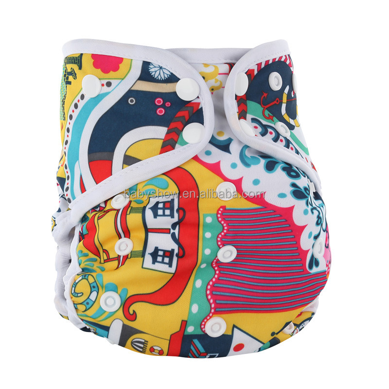 hot sale waterproof PUL fabric pororor aio cloth diaper,edge binding bamboo cloth diper with two bamboo inserts