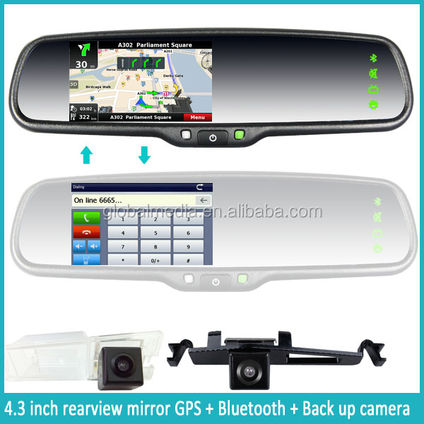 Auto parts chevrolet cruze touch screen monitor garmin rearview mirror gps navigation with radar detector