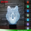 3D Animal Wolf Touch Control Table Lamp 7 Color Changing LED Night Light Home Decor