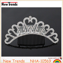2016 new silver wedding jewely crystal rhinestone <strong>crown</strong>