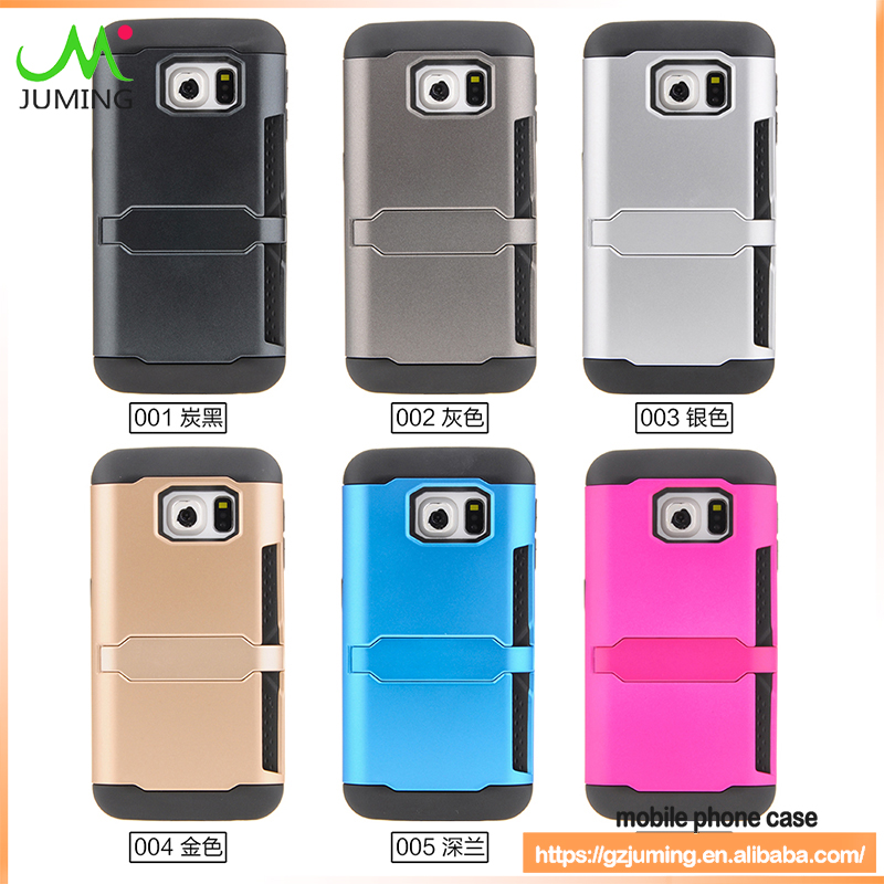 New TPU PC Protective Combo Case for samsung galaxy s6 edge with Credit Card Holder Cell Phone Case