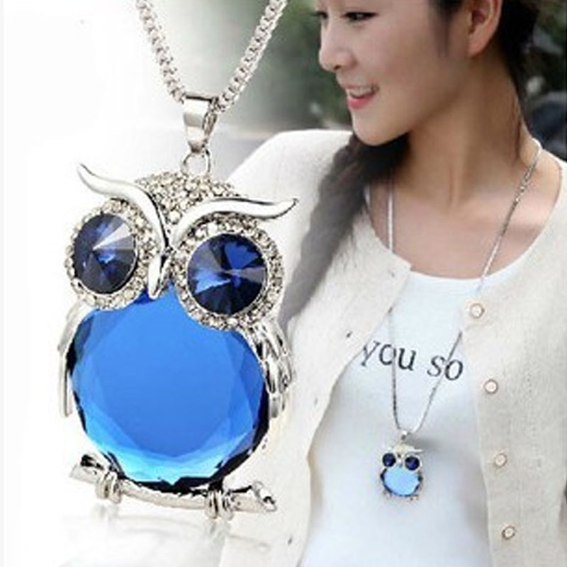 2017 New Fashion Statement Owl Crystal Necklaces <strong>Pendants</strong> For Women As A Gift,Gold & Silver Chain Long Jewelry,collier femme