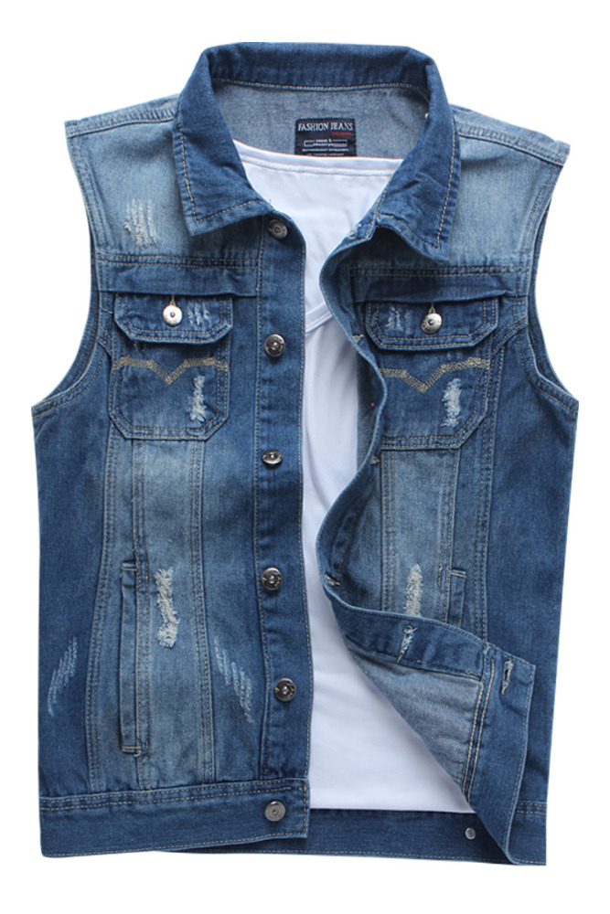 Men Denim Vest Wholesale Fashion Classic Blue Solid Cotton Men's Vest ZJXT13