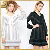 2016 Elasticated waist Long sleeved printed beautiful lady fashion dress