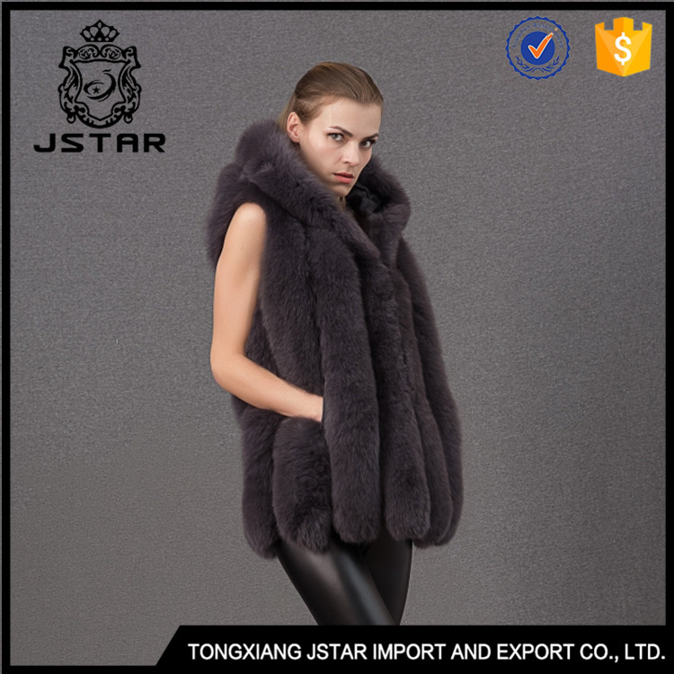 China Hot Sale Ladies Fox Fur Jacket Costume Leather Beautiful Good Quality Girl Vest