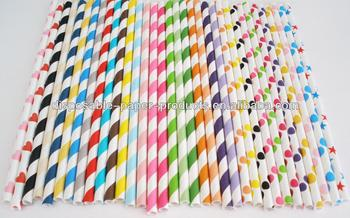 Retro Vintage Inspired Pastel Paper Drinking Party Straws Polka Dots Stripe Chevron Stars Cake Pop Sticks Weddings Graduations