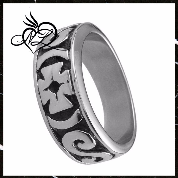 Mens 361L Stainless Steel Silver Black Biker Band Iron Cross Ring