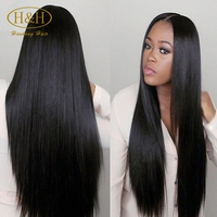 180% Density 18--30 Inch Silky Natural Straight Brazilian Human Hair Full Lace Wig With Baby Hair for African American