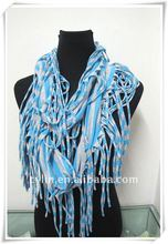 Fashion Polyester Round Neck Scarf With Long Fringes