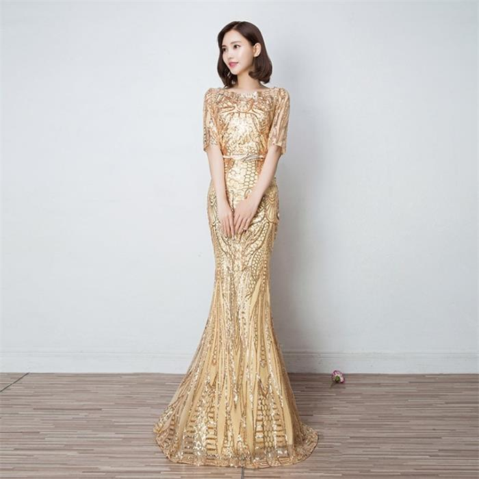 Cheap golden mermaid sequin full evening dress party birthday half sleeve new sample in stocks goods indonesia muslim dress