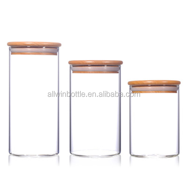 1650ml Huge Capacity Flower Tea Borosilicate Glass Storage Jars With Wooden Lids