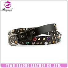 Custom design special classic lady rhinestone studded pu leather belt for women