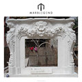 highly skilled hand-craved with flowers design natural white marble fireplace
