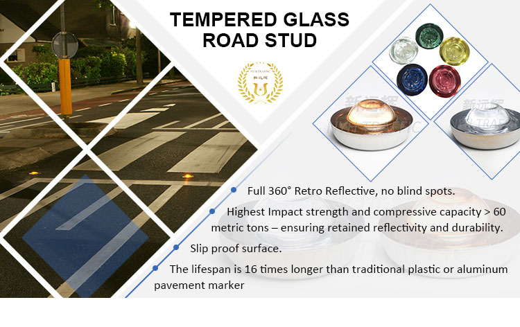 Chinese Tempered glass road stud marker with anti compression 60 tons at most competitive price