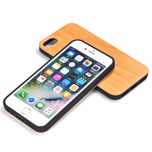 TPU Holder Combo Genuine Wood Universal Hard Back Cover Case For iPhone 7 8