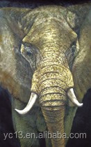 Vivid Color 100% Handmade Animal Oil Painting Of Elephants With Canvas, Oil Or Acrylic Material For Wall Decoration