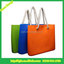 Fashion lady bag ,high quality silicon beach bag with rope handle silicone bag