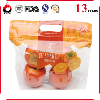 Reusable produce plastic pouch with zipper flat bottom plastic fruit bag