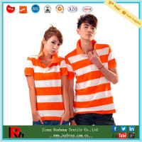 Custom bulk cotton stripe couple polo t-shirt