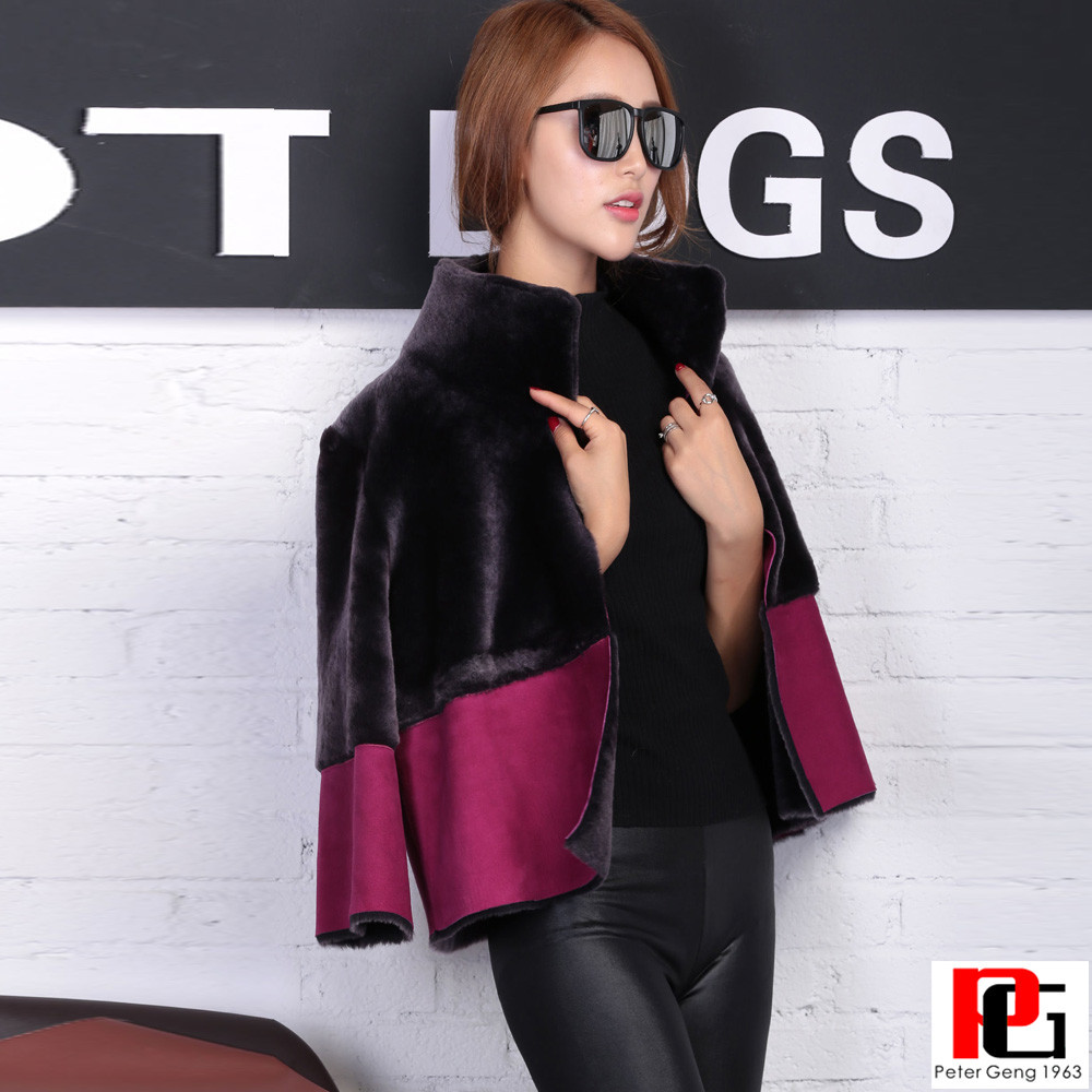 2016 NEW KOREAN DESIGN DOUBLE FACE MERINOS WOOL LAMB SKIN FUR SHORT REVERSABLE JACKET FOR WOMEN