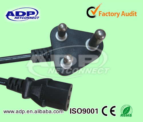 2 pin/3Plug Europe/South Afica AC computer power cod for Laptop computer cable