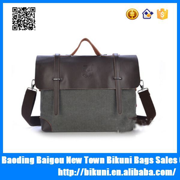 Hot design 2015 retro vintage leather men canvas sling bags,canvas leather bag,shoulder bags for men
