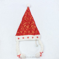 OEM Wholesale Golden Stars Decorated LED Flashing Light Up Non Woven Fabric Santa Claus Christmas hat with Braids for Girls
