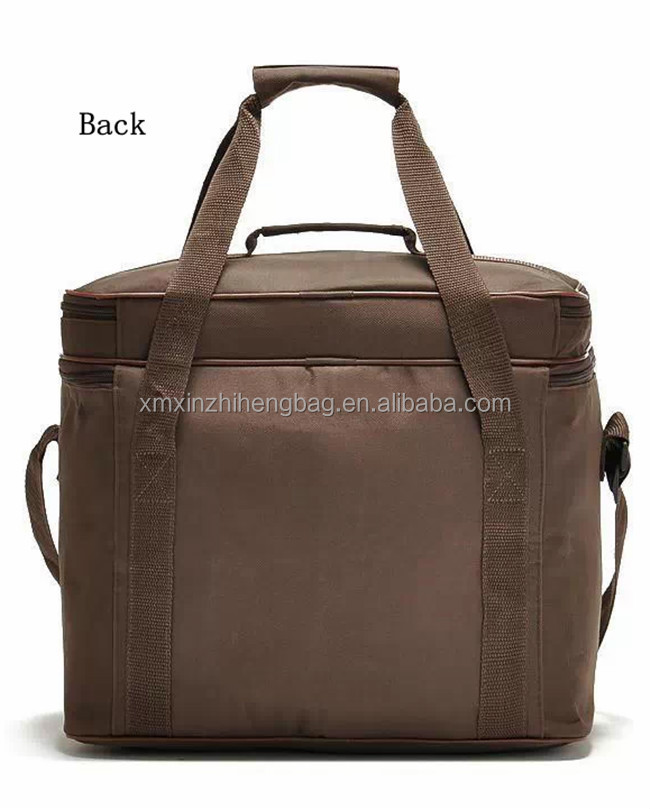 Alibaba gold supplier 24-can Large Capacity Soft Cooler Tote Insulated Lunch Bag brown color Outdoor Picnic Bag