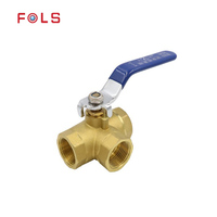 Manual brass 3 way ball valve
