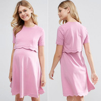 Pink breastfeeding clothes fashion double layered maternity nursing dress