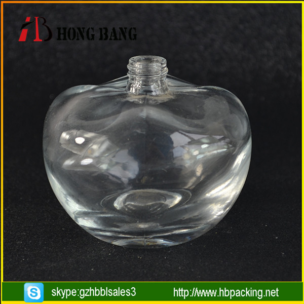apple shape glass perfume bottles with gold caps