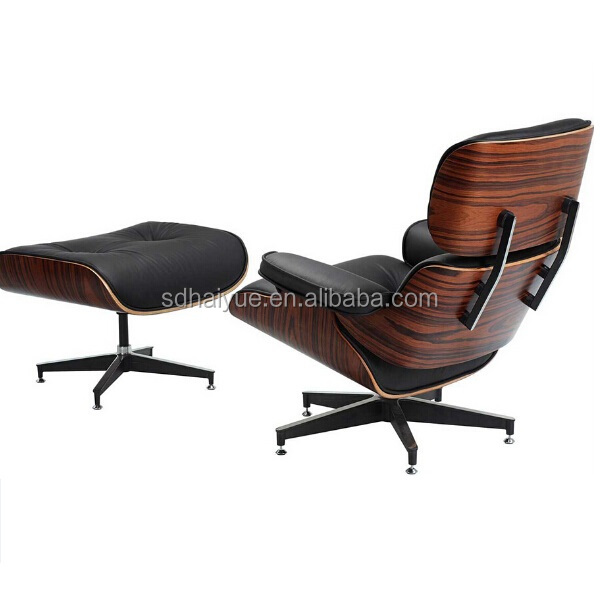 HY2112 Black Aniline Leather Charles Emes Lounge Chair and Ottoman Replica