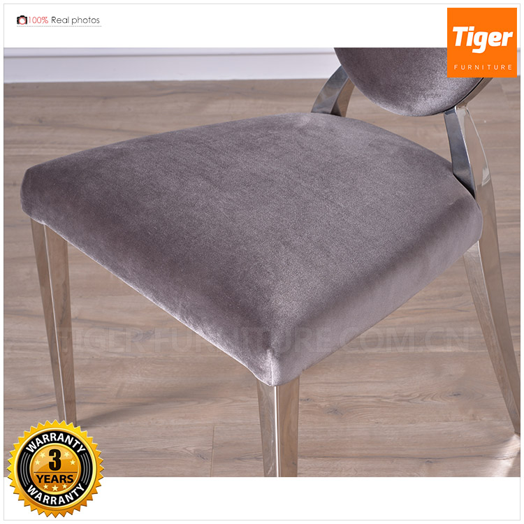 2017 guangdong luxury furniture velvet wedding stainless steel frame chair for dining room
