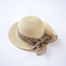 Summer new handmade paper skimmer straw hat with bow wholesale kids sun hats