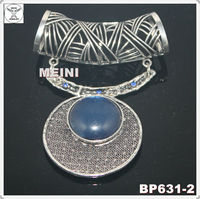 2013 antique silver fashion circle design scarf pendant with big blue stone