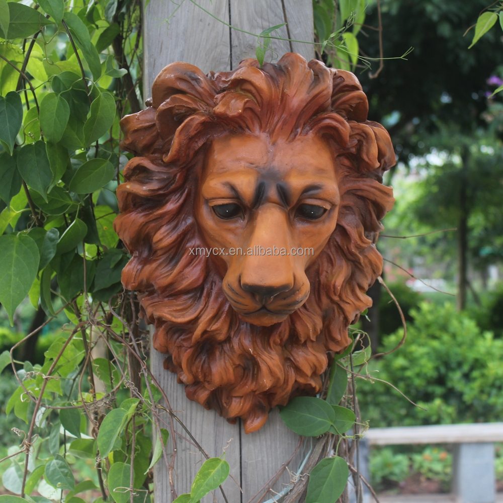 artificial sculpture lion resin animal head wall decoration